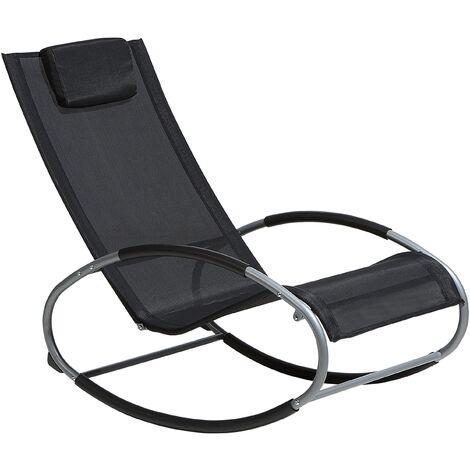 Chaise de jardin à bascule noire CAMPO