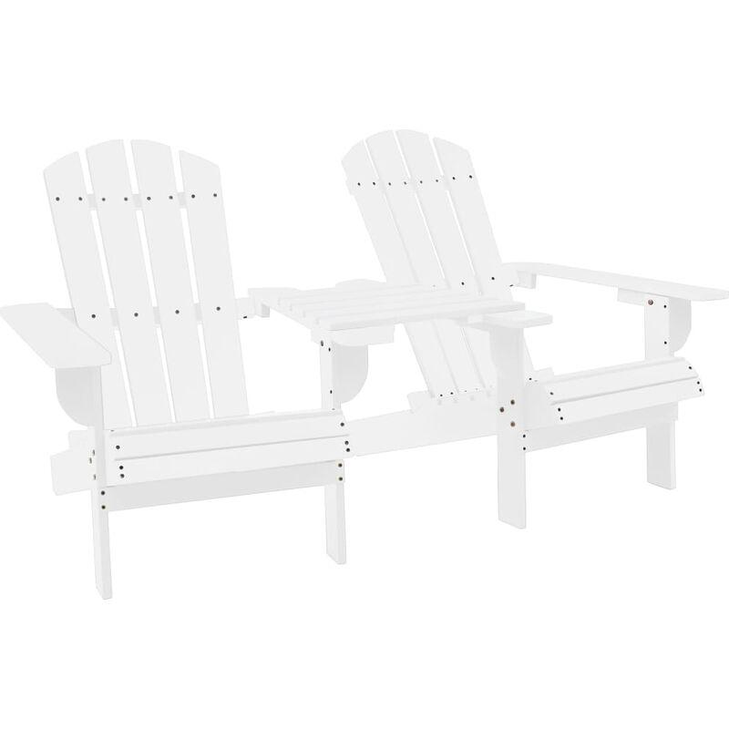 Chaise de jardin Adirondack Bois de sapin massif Blanc - VIDAXL