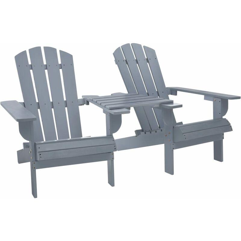 Zqyrlar - Chaise de jardin Adirondack Bois de sapin massif Gris