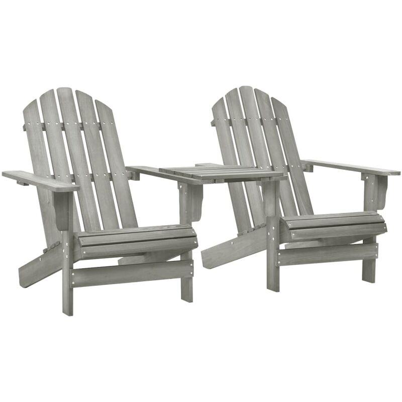 Chaise de jardin Adirondack Bois de sapin massif Gris