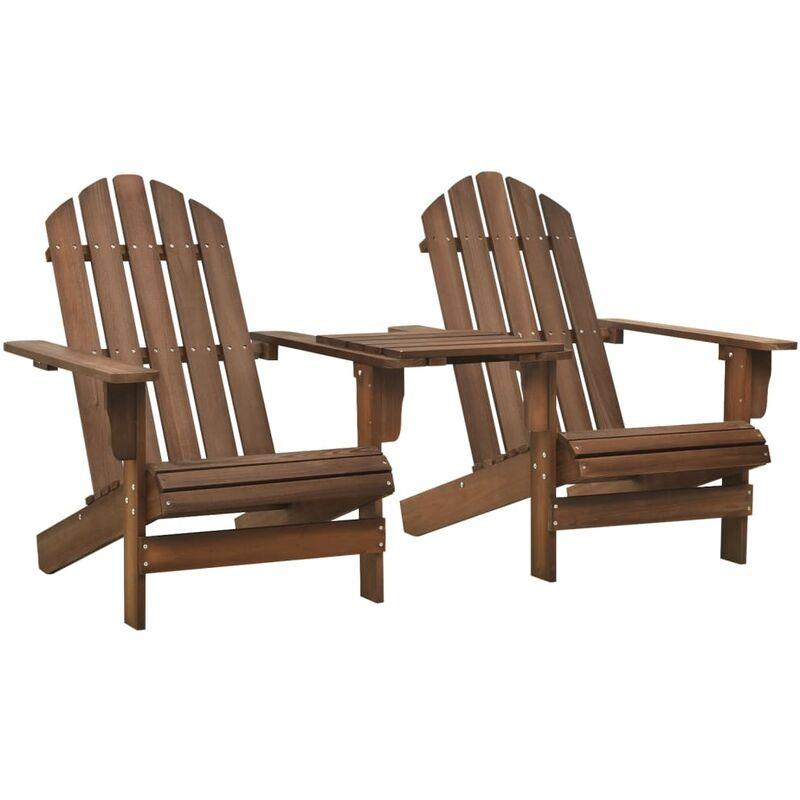 Chaise de jardin Adirondack Bois de sapin massif Marron