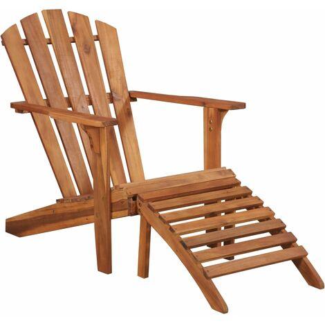 Chaise de jardin Adirondack et repose-pied Bois d'acacia massif