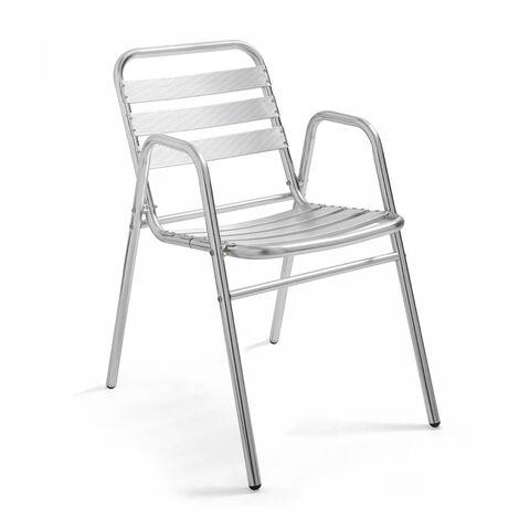Chaise de jardin aluminium empilable Nothing Hill - Gris clair - Gris clair
