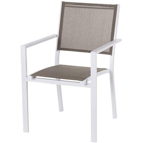 De Jardin Blanc Chaise Thais Et Taupe Aluminium CEWQBedxro