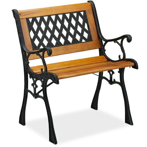 Chaise de jardin avec accoudoirs, résistante, basse, design vintage, bois et fonte,73x62x52,5, nature-noir