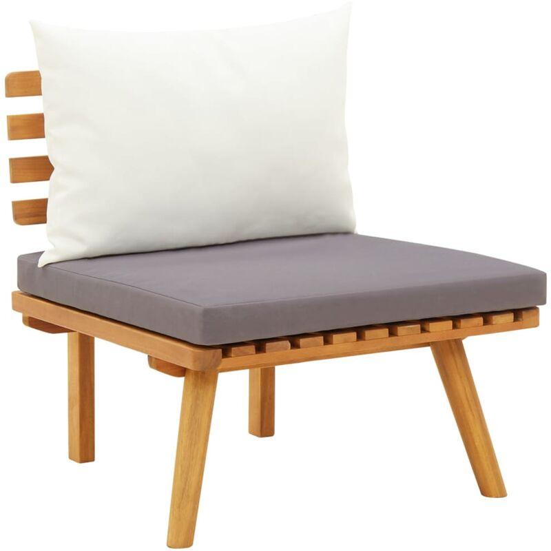 Chaise de jardin avec coussins Bois d'acacia massif