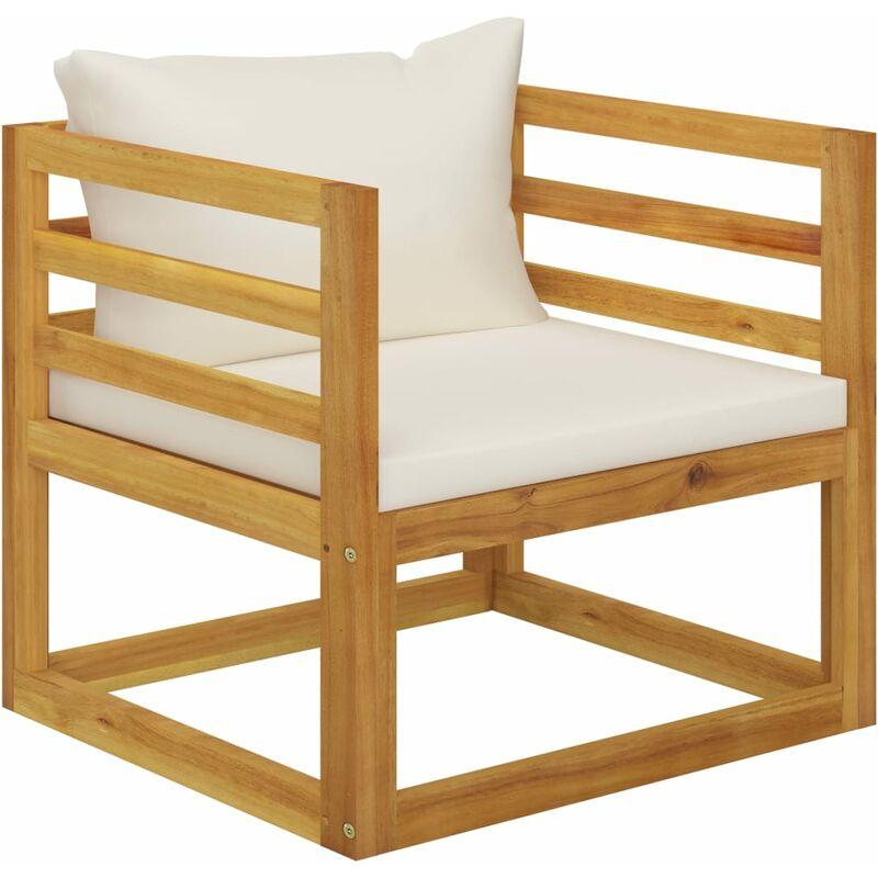 Chaise de jardin avec coussins crème Bois d'acacia massif
