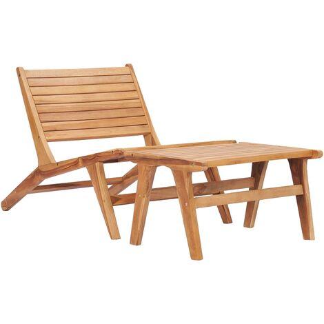Chaise de jardin avec repose-pied Bois de teck solide