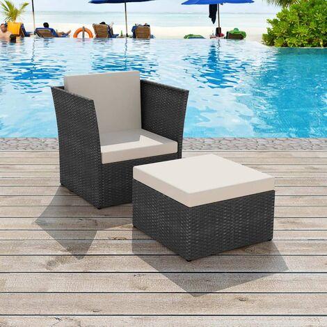 Chaise de jardin avec tabouret Noir Résine tressée - 41981