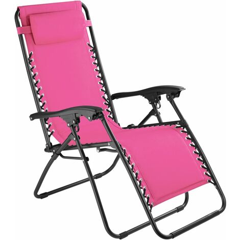 Chaise de jardin camping meuble rose - Rose