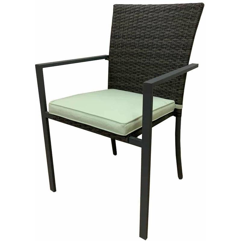 Chaise de Jardin Varenna Acier Rotin Synthétique 56x55x86 cm Empilable Gris avec Coussin - chillvert