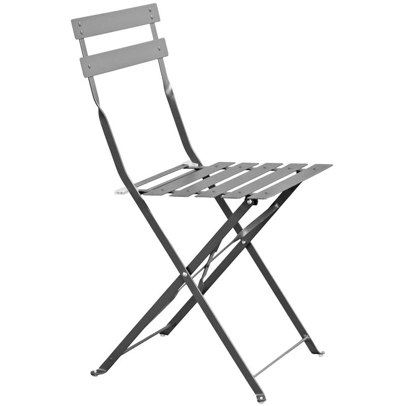 Pegane - Chaise de jardin en acier époxy coloris Gris - Dim : L 41 x l 45 x H 80 cm