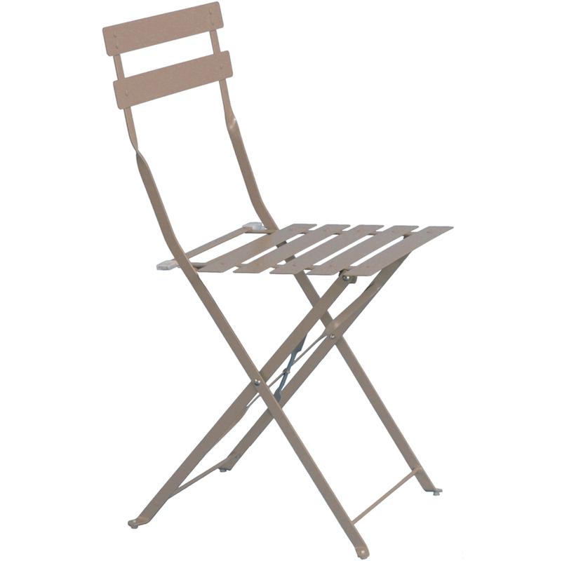 Pegane - Chaise de jardin en acier époxy coloris taupe mat - Dim : L 41 x l 45 x H 80 cm