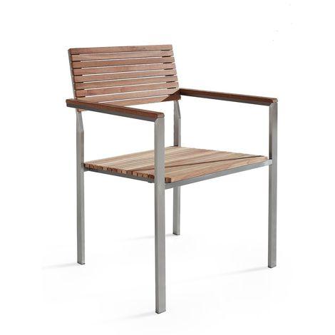 Chaise de jardin en acier inox et teck VIAREGGIO - 5378
