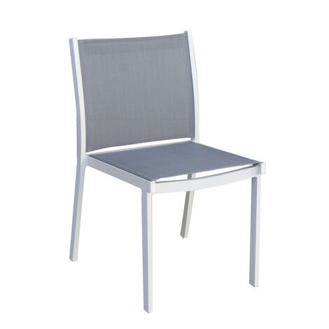 Chaise de jardin en Aluminium design Panama TRESI - Gris / Blanc - Extérieur - Gris / Blanc