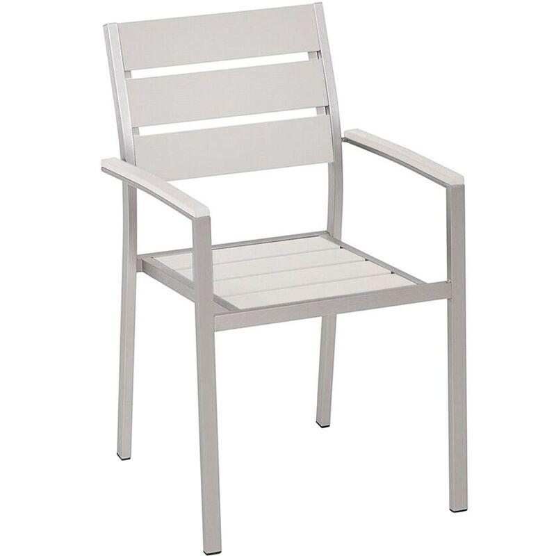 Beliani - Chaise de jardin en aluminium et bois synthétique blanc VERNIO
