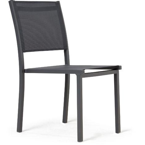 Chaise de jardin en aluminium et textilène Nice - Gris
