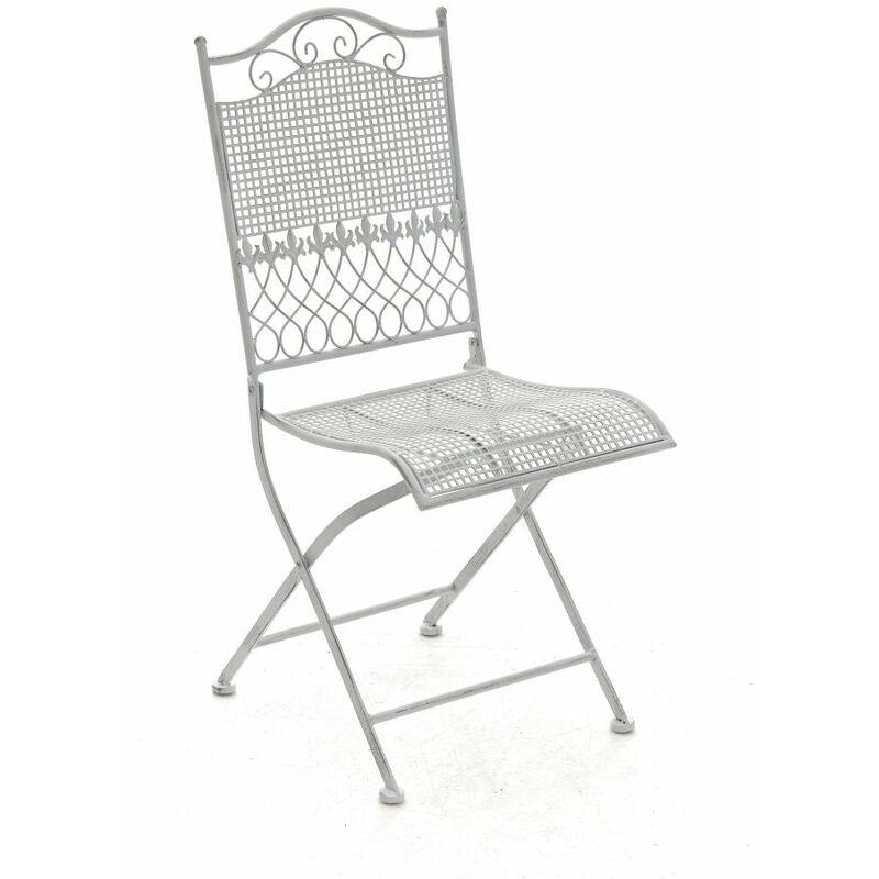 Chaise de jardin en fer forgé blanc vieilli - or