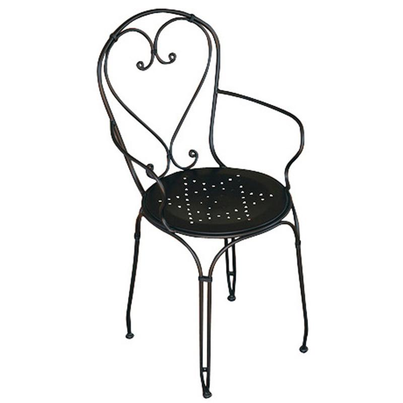 Chaise de jardin en fer forgé noir - Dim : H 89 x 57 x P 54 cm
