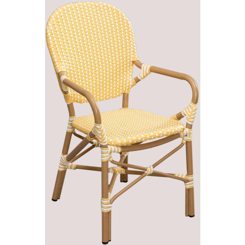 Chaise de jardin en osier synthétique Alisa Bistro Osier PE - Aluminium - Jaune vanille - Sklum