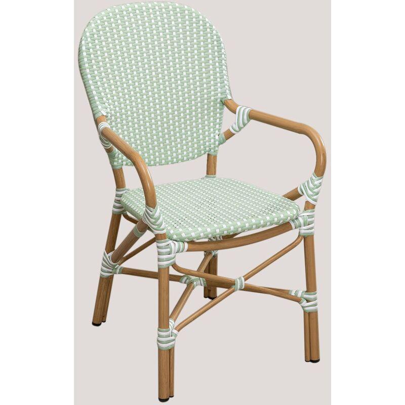 Chaise de jardin en osier synthétique Alisa Bistro Osier PE - Aluminium - Mousse de céladon - Sklum