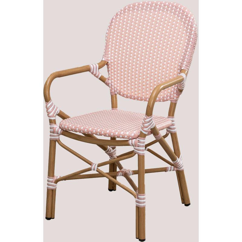 Chaise de jardin en osier synthétique Alisa Bistro Osier PE - Aluminium - Rose Noisette - Sklum