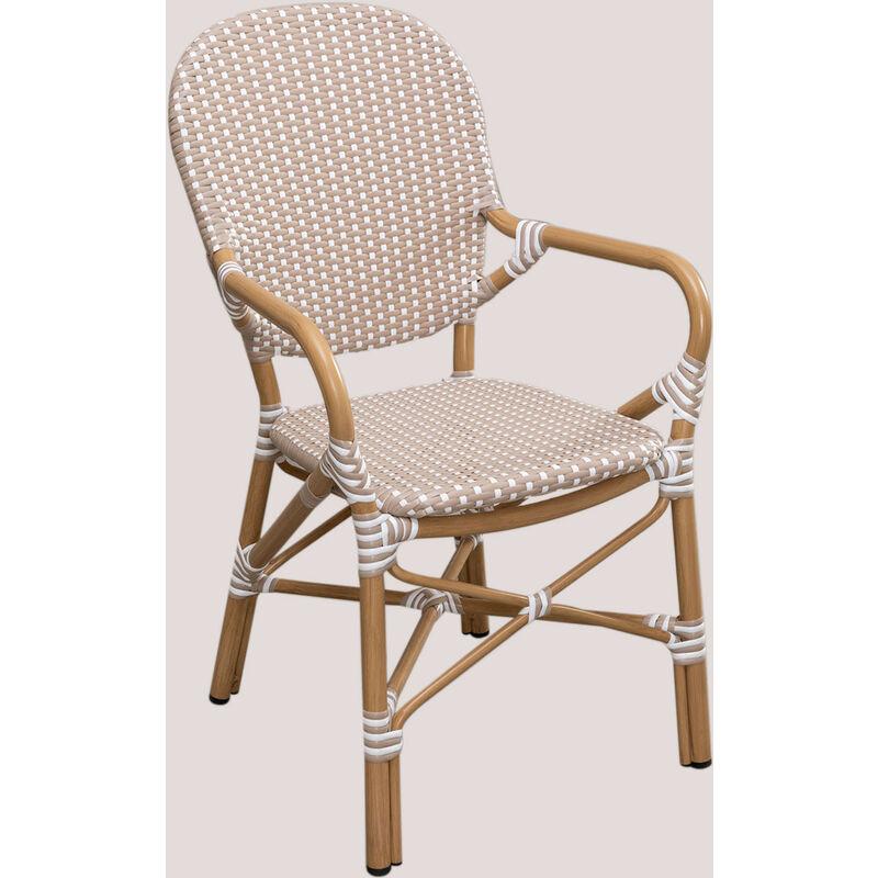 Chaise de jardin en osier synthétique Alisa Bistro Osier PE - Aluminium - Gris Taupe Clair - Sklum
