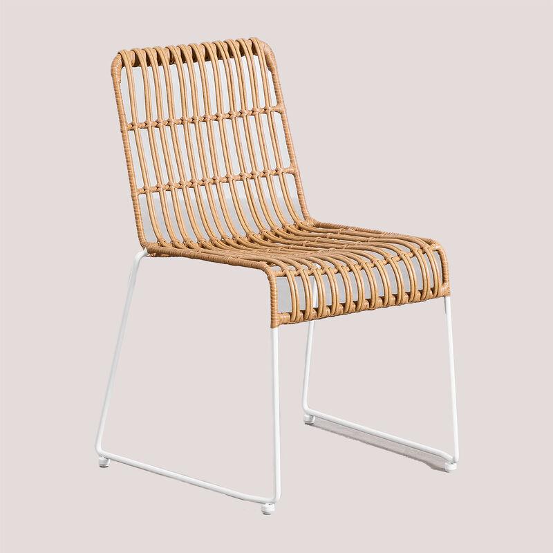 Chaise de jardin en rotin synthétique Aroa Rotin – Acier - NATUREL - Sklum