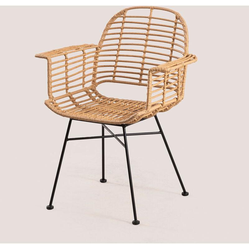 Chaise de jardin en rotin synthétique de style mimbar SKLUM Osier - Fer - Marron Naturel