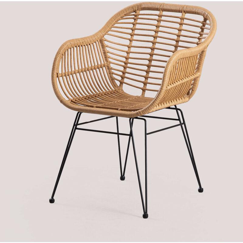 Chaise de jardin en rotin synthétique Zole Osier PE - Fer - Noir - Sklum