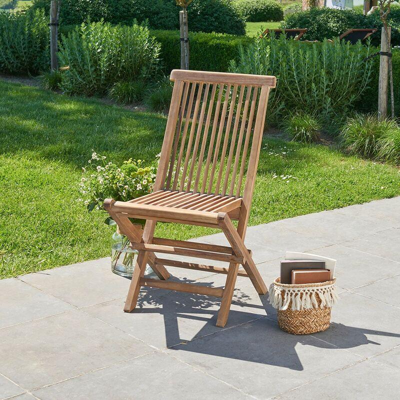 Chaise de jardin pliante en teck huilé - Marron