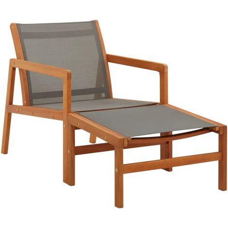 Chaise de jardin et repose-pied Gris Eucalyptus et textilène