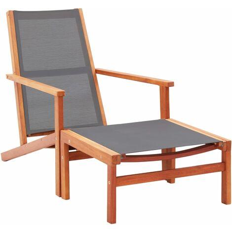 Chaise de jardin et repose-pied Gris Eucalyptus et textilene