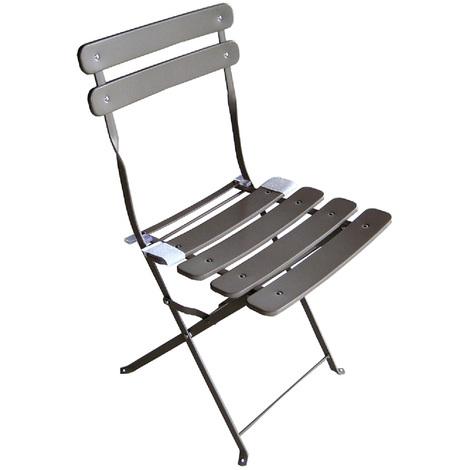 Chaise de jardin - fer Couleur gris tourterelle avec verrouillage de sécurité - pliable - Dim : 61 x 47 x 48 cm
