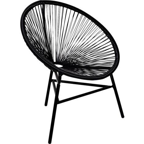 Chaise de jardin forme de lune Résine tressée Noir