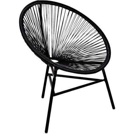 Chaise de jardin forme de lune Resine tressee Noir