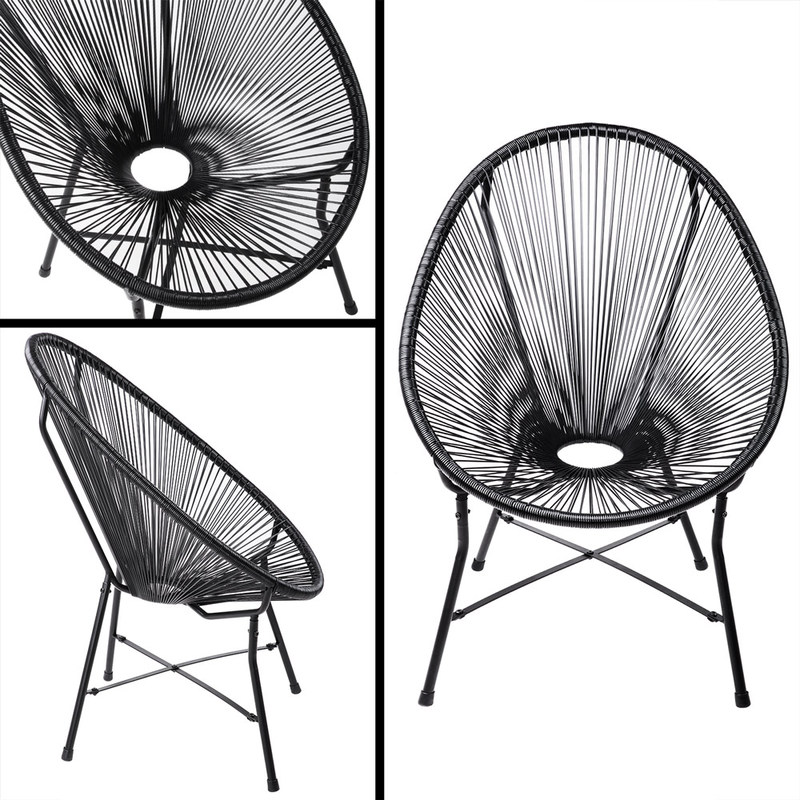 "chaise de jardin noir ""acapulco"" fauteuil de jardin salon en acier"