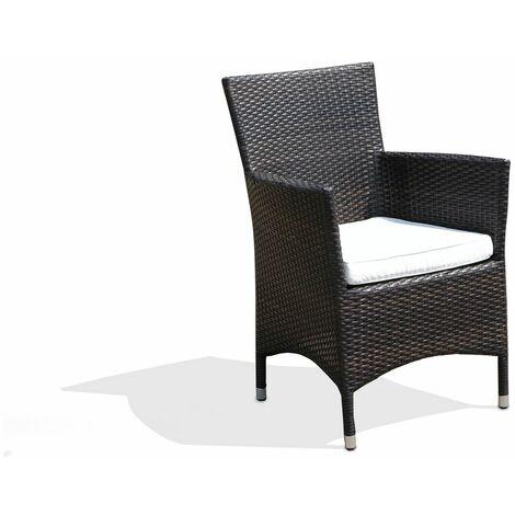 Chaise de jardin ou terrasse en rotin foncé avec assise