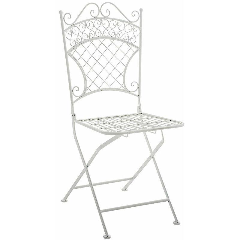 Chaise de jardin pliable en fer forgé blanc - or