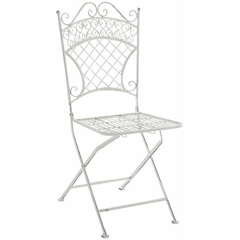 Chaise de jardin pliable en fer forgé blanc vieilli - or
