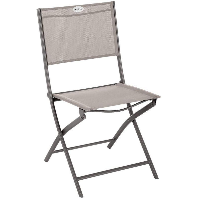 Chaise de jardin pliable Modula - Acier et polyester - Taupe et gris - Taupe