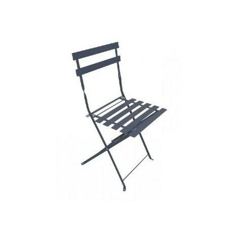 Chaise de jardin pliante BISTROT - Grise - Lot de 2