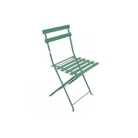 Chaise de jardin pliante BISTROT - Verte - Lot de 2
