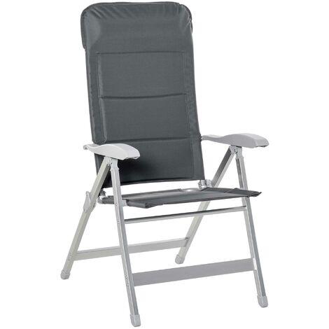 Chaise de jardin pliante dossier haut inclinable multipositions accoudoirs tétière alu. oxford déperlant gris