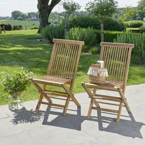 Chaise de jardin pliante en teck huilé (lot de 2) - Marron