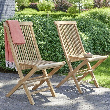Chaise de jardin pliante en teck (lot de 2)