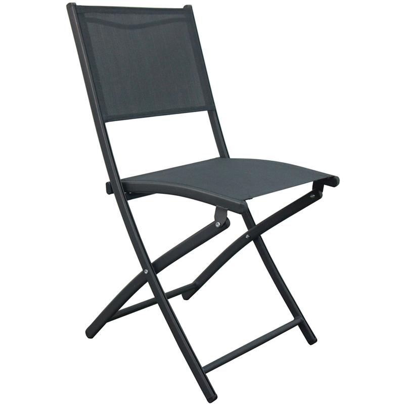 Chaise de jardin pliante en texaline coloris Gris foncé - Dim : 45.5 X 57 X 85 cm -PEGANE-