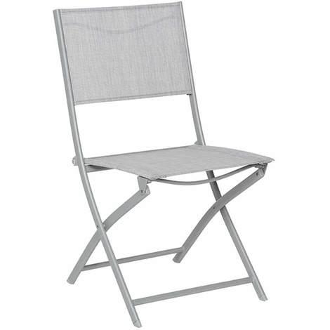 Chaise de jardin pliante métal Modula Gris chiné/Gris mat