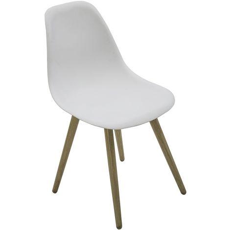 Chaise de jardin scandinave North - Blanc pieds effet bois - Blanc