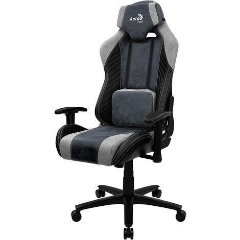 Chaise de joueur aerocool baron steel blue aerosuede pour un confort maximal cuir synthétique de première qualité motif fibre de carbone bras réglable swing 18